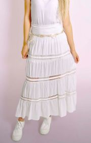 Italian White Maxi Skirt - One Size